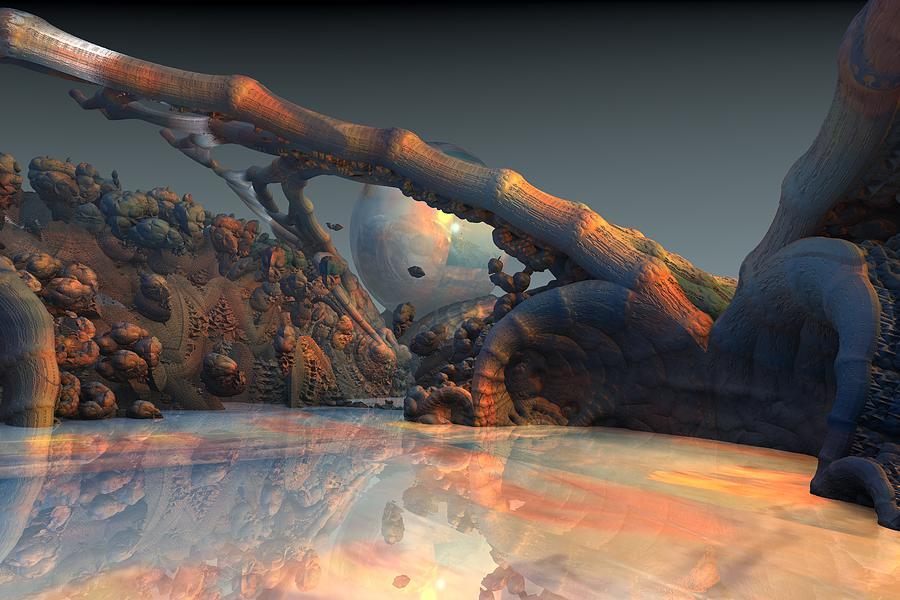 Fractal Landscape Digital Art - Tw 90 by Kaleb Larsen