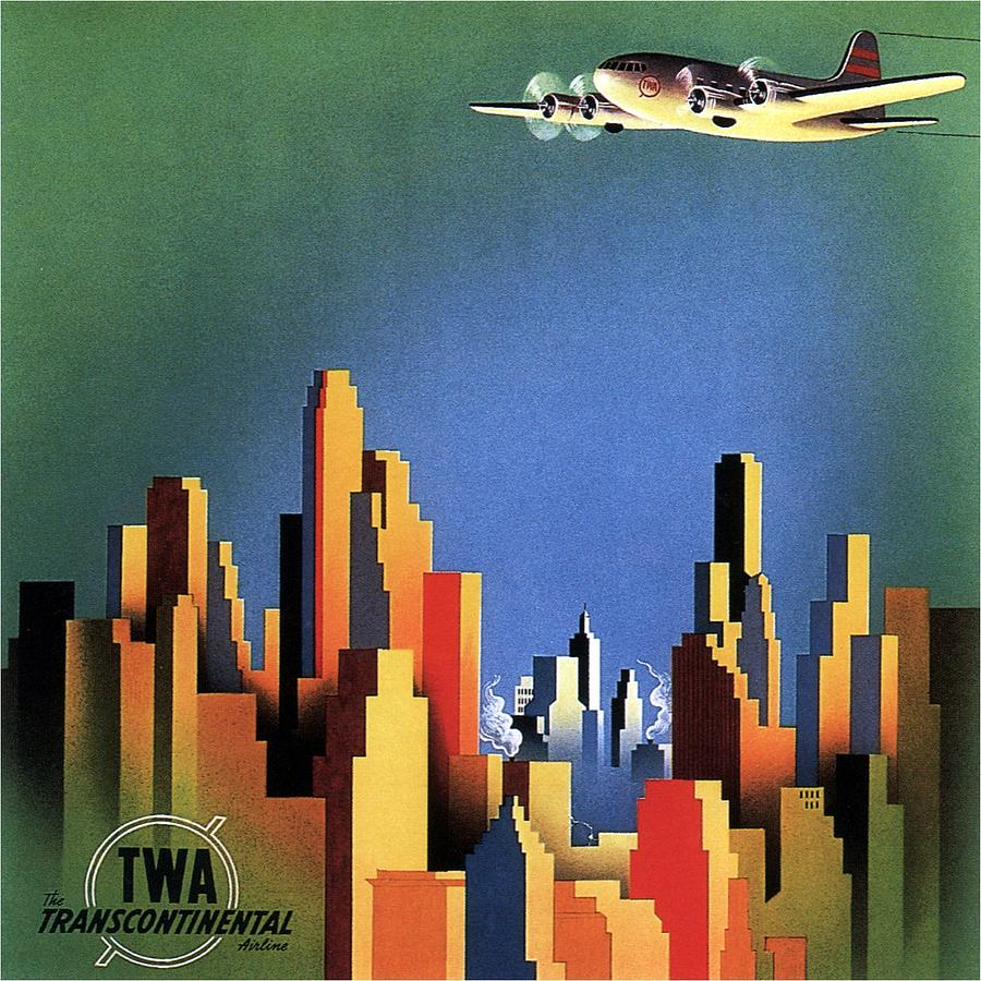Twa Transcontinental - Trans World Airlines - Retro Travel Poster - Vintage Poster Photograph