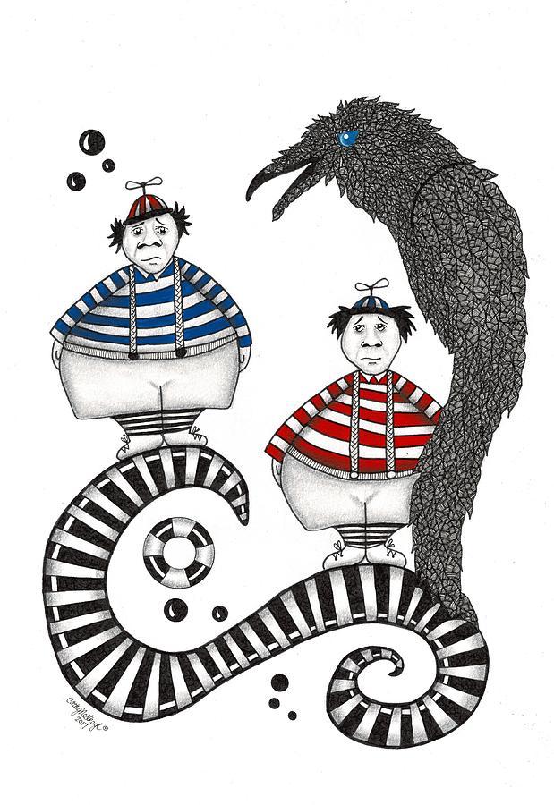 Tweedle Drawing - Tweedle-dee Tweedle-dum by Cathy Nestroyl
