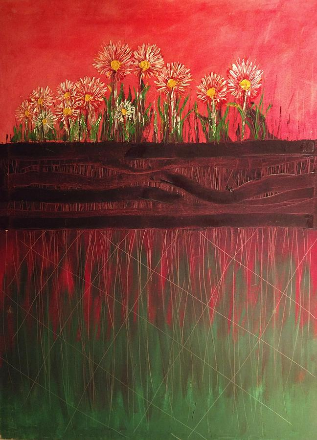 Window Box Painting - Twelve Daises In Window Box by Edward Longo
