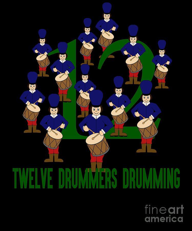 Twelve Drummers Drumming Song 12 Days Christmas Numbers ...