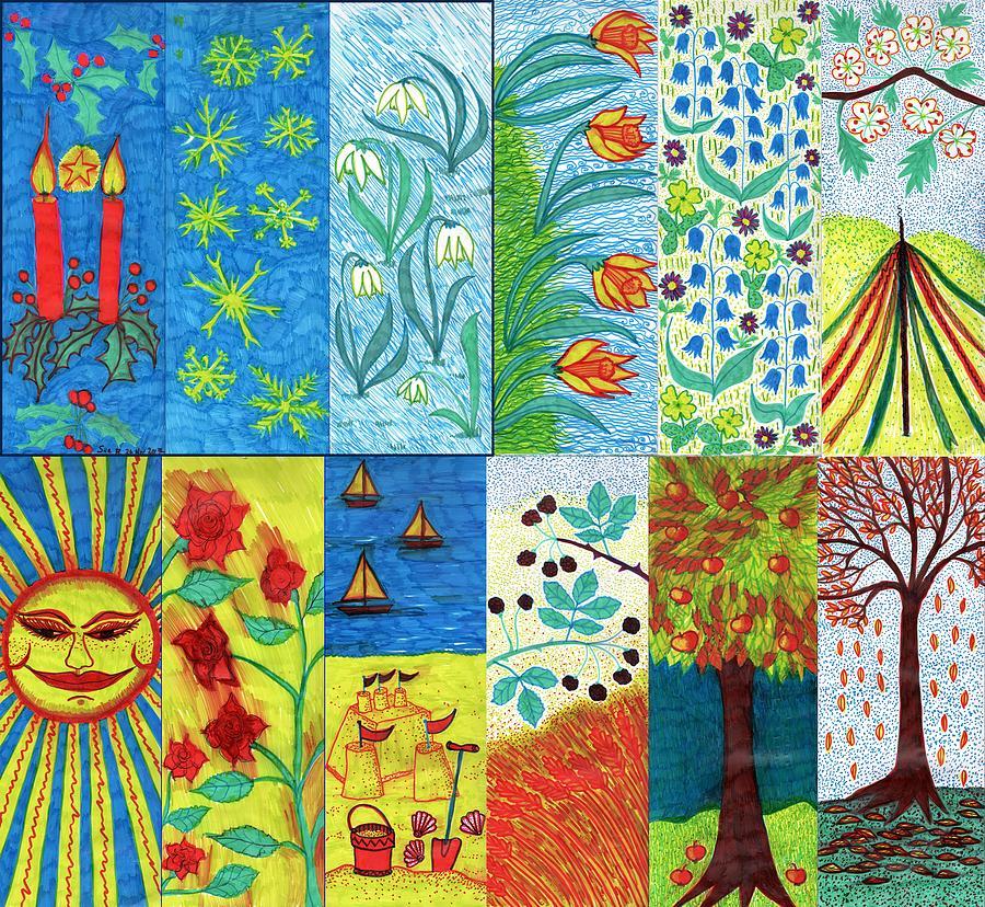 Seasons Drawing - Twelve Months by Sushila Burgess