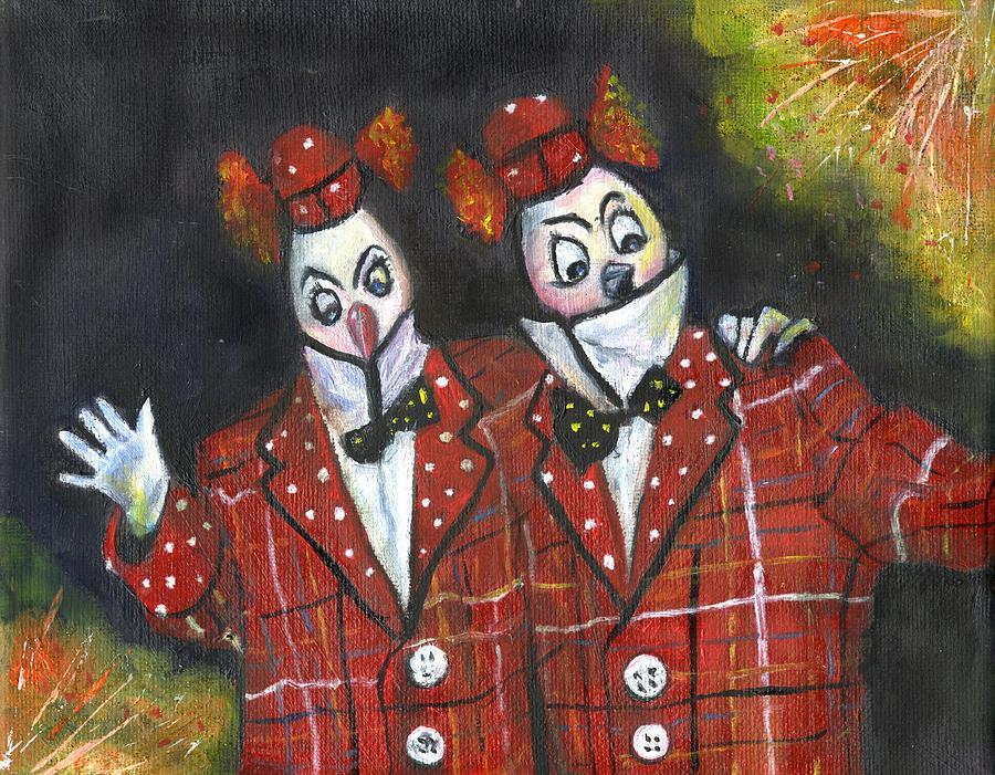 Clowns Painting - Twiddledee Twiddledum by Olga Kaczmar