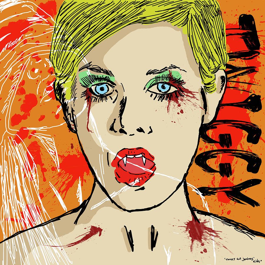 Portrait Drawing - Twiggy Got Jealous by Sean King