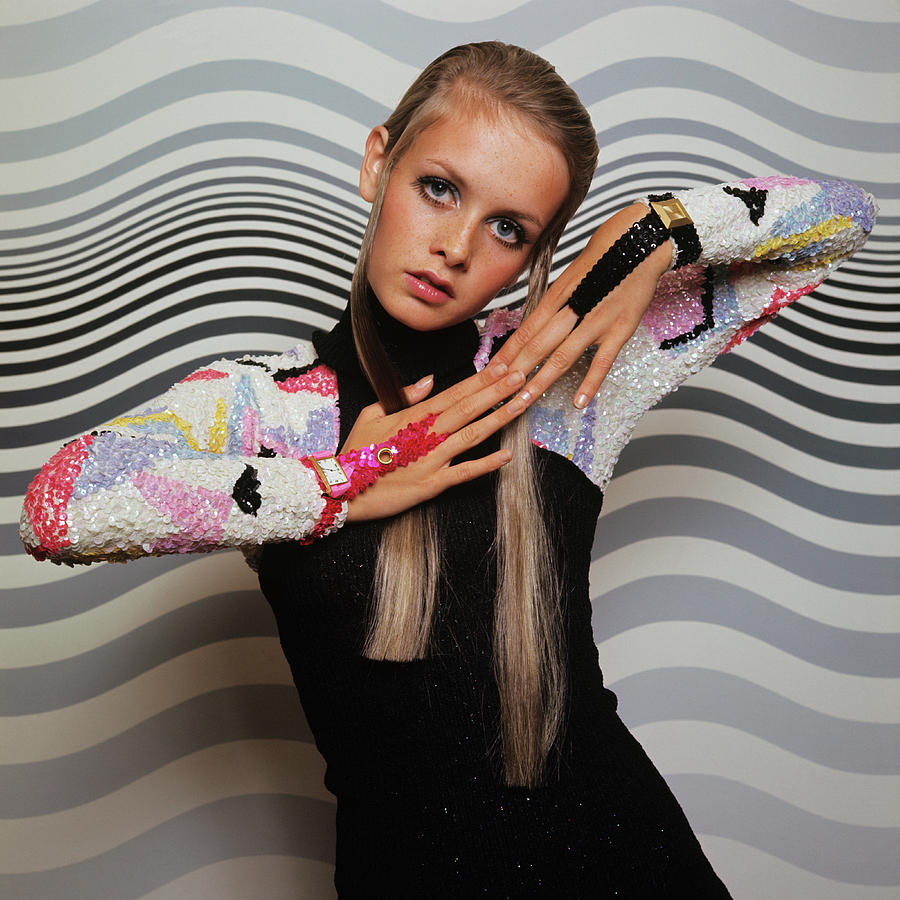 Twiggy Models In Front Of Waves Photograph by Bert Stern
