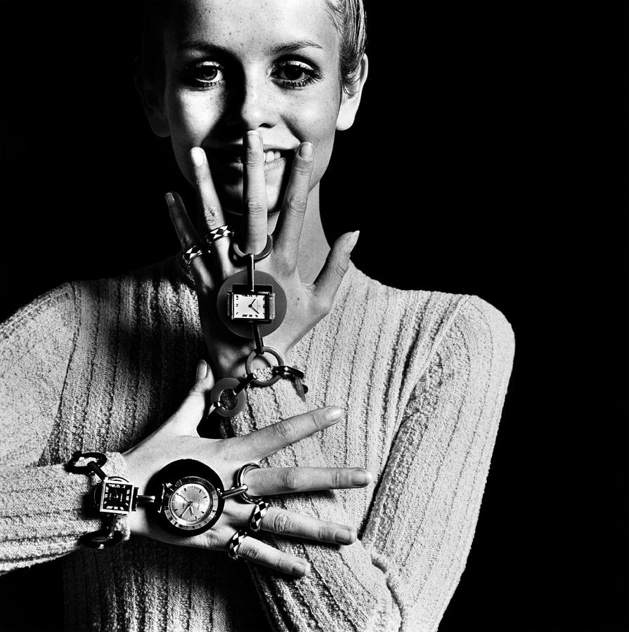Twiggy Wearing Watch Jewelry Photograph by Bert Stern