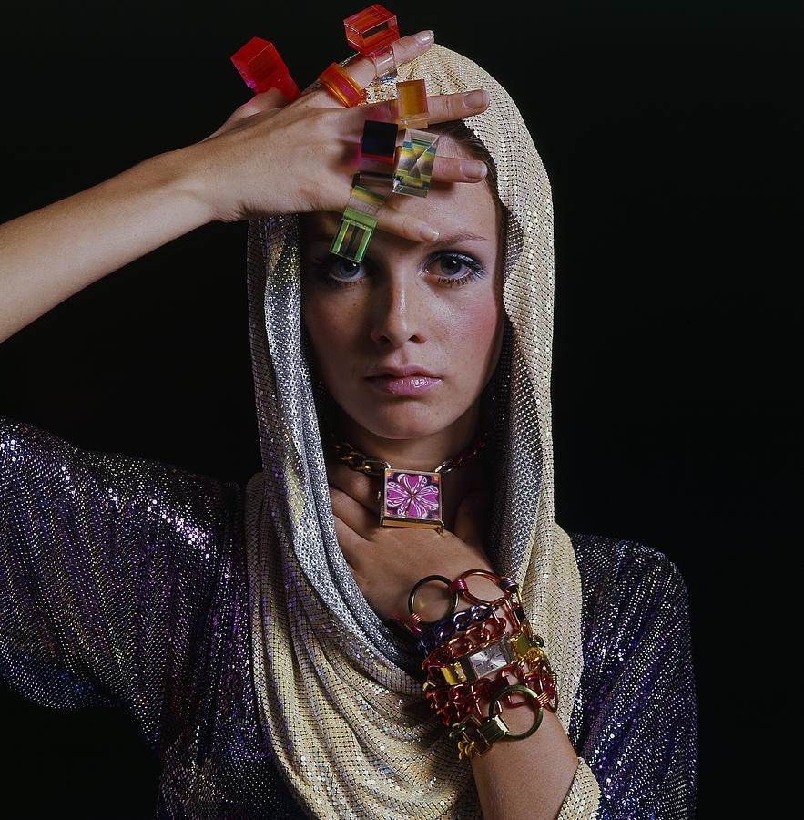 Twiggy With Lucite Rings Photograph by Bert Stern