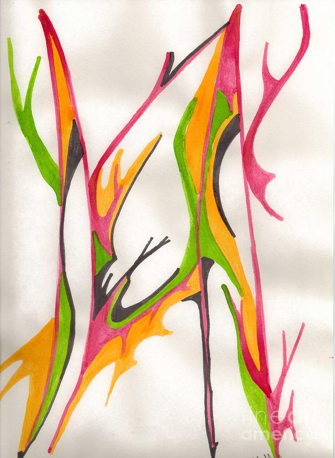 Abstract Mixed Media - Twigs by Mary Mikawoz