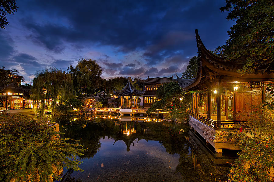 Chinese Garden Photograph - Twilight At Lan Su Chinese Garden by David Gn