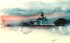 Twilight At The Old Point Loma Lighthouse Print by John Yato