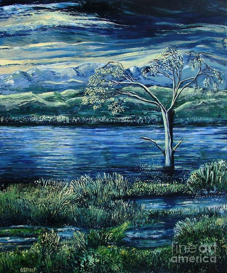 Landscape Painting - Twilight At The River by Caroline Street