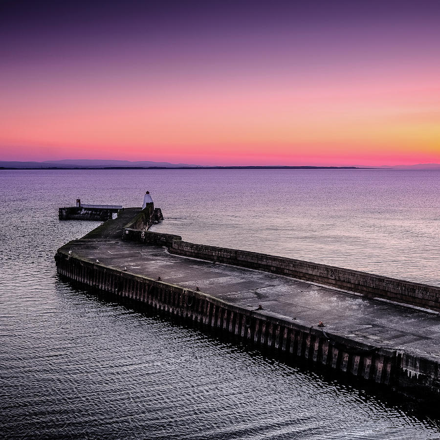 Moray Photograph - Twilight, Burghead Harbour by Peter OReilly