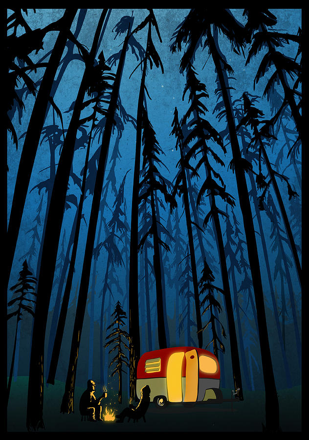 Twilight Camping Painting by Sassan Filsoof