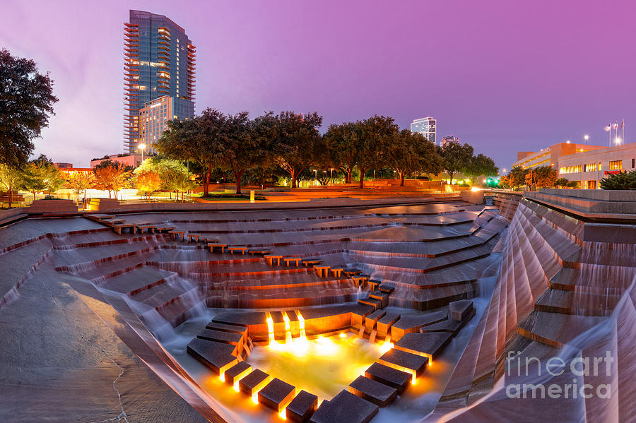 Twilight Glow At Fort Worth Water Gardens Downtown Fort Worth