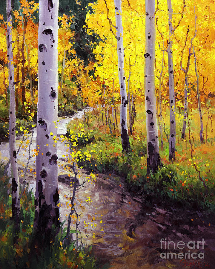 Contemporary Painting - Twilight Glow Over Aspen by Gary Kim