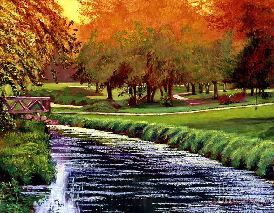 Golf Course Painting - Twilight Golf by David Lloyd Glover