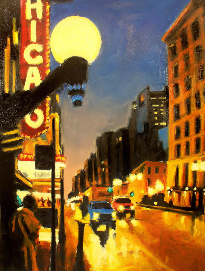 Rob Reeves Painting - Twilight In Chicago - The Watcher by Robert Reeves