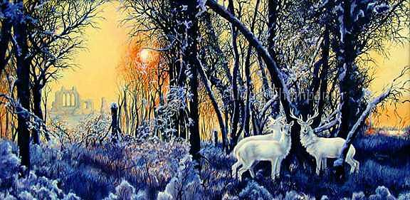 White Deer Painting - Twilight of the Silver Stag by Linda Champanier