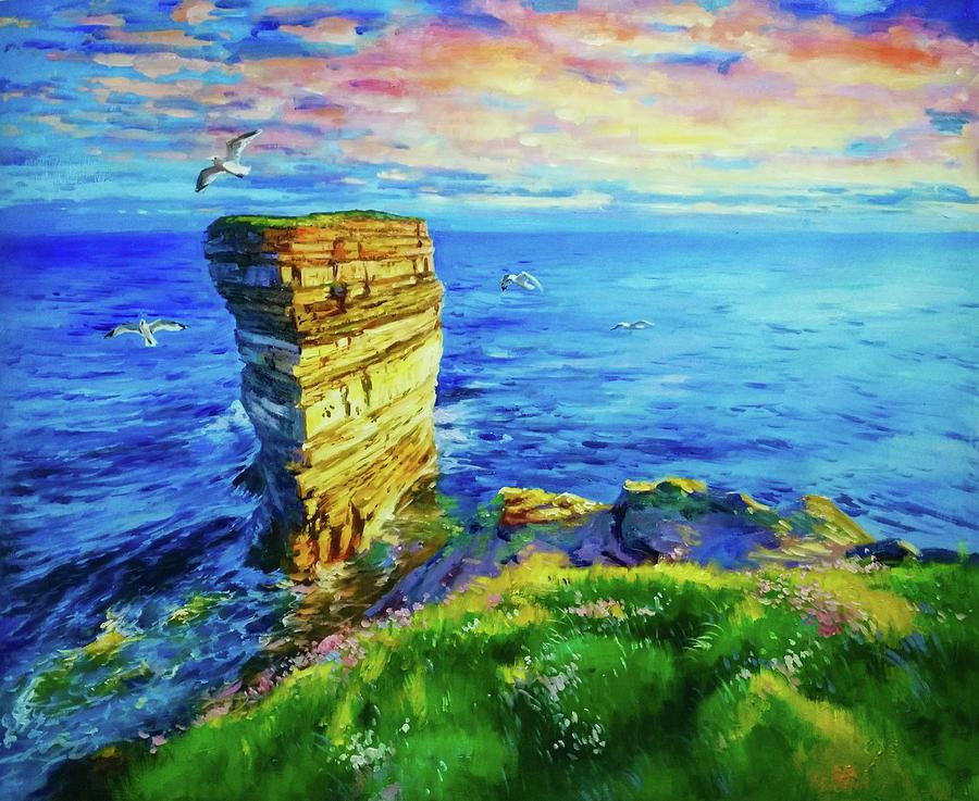 Twilight Over Dun Briste by Conor McGuire