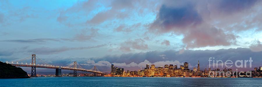 San Francisco Photograph - Twilight Panorama Of San Francisco Skyline And Bay Area Bridge From Treasure Island - California by Silvio Ligutti
