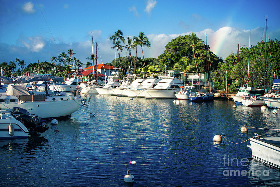 Twilight Rainbow at the Marina Lahaina Harbour Maui Hawaii by Sharon Mau