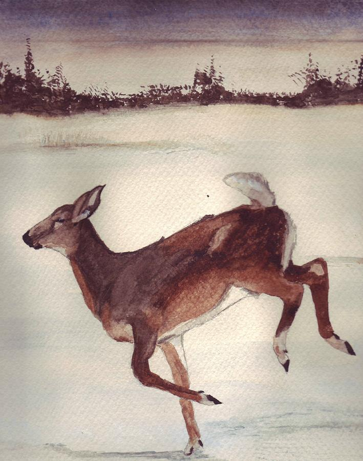 Whitetail Deer Painting - Twilight Run by Debra Sandstrom