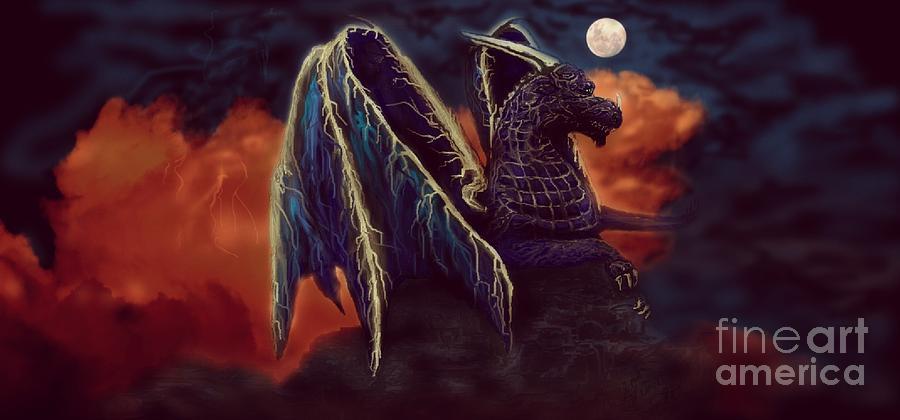 Purple Dragon Digital Art - Twilight Storm Dragon by Sherry Bunker