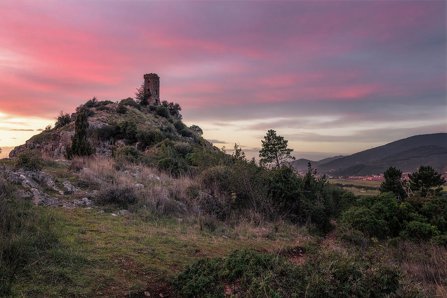 Twilight Tower - Tower of Caprona in Tuscany, Pisa by Matteo Viviani