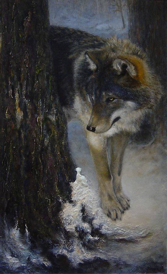 Wolf Painting - Twilights Preyer  by James Berger
