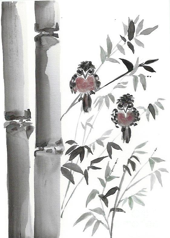 Twin Birds In The Bamboo Painting