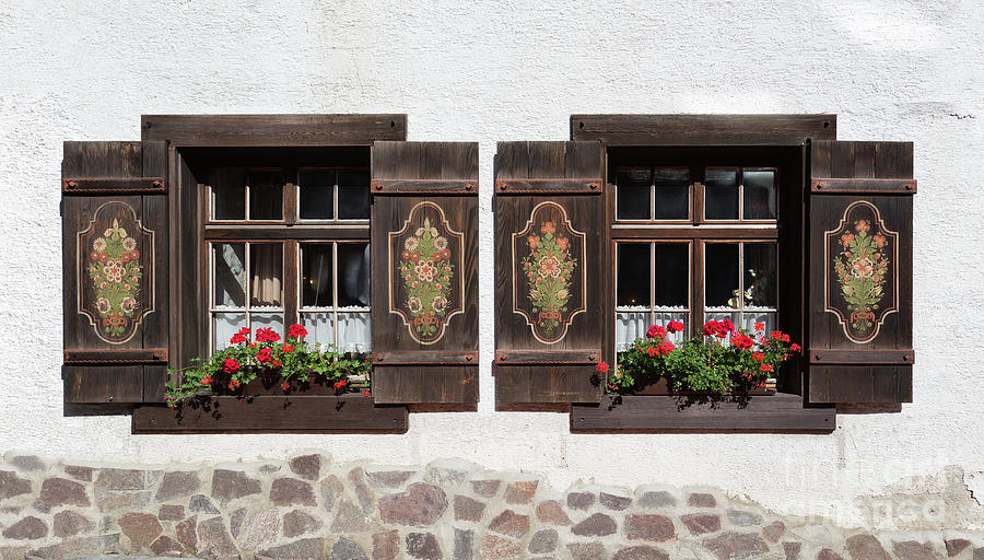 Windows Photograph - Twin Decorated Windows by Yair Karelic