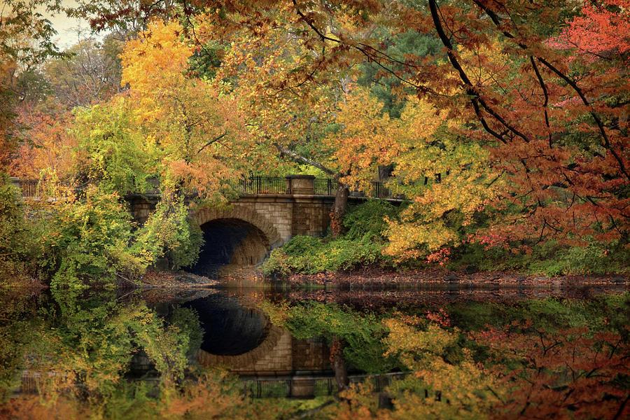 Autumn Photograph - Twin Lake Bridge by Jessica Jenney