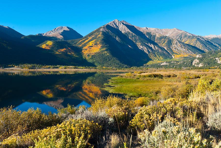 Twin Lakes Autumn Reflection Photograph