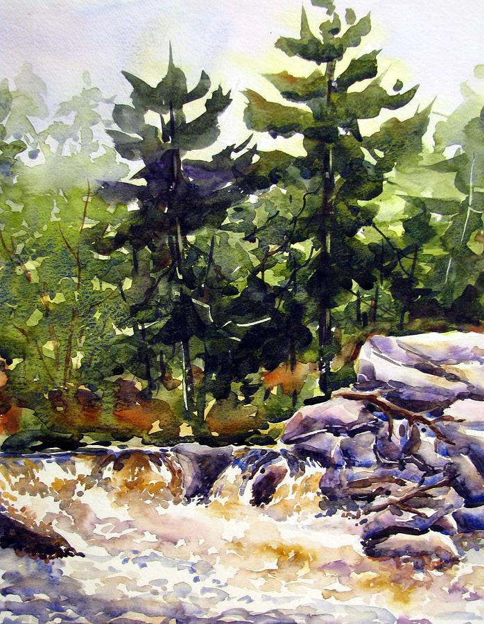 Watercolor Painting - Twin Pine Rapids by Chito Gonzaga