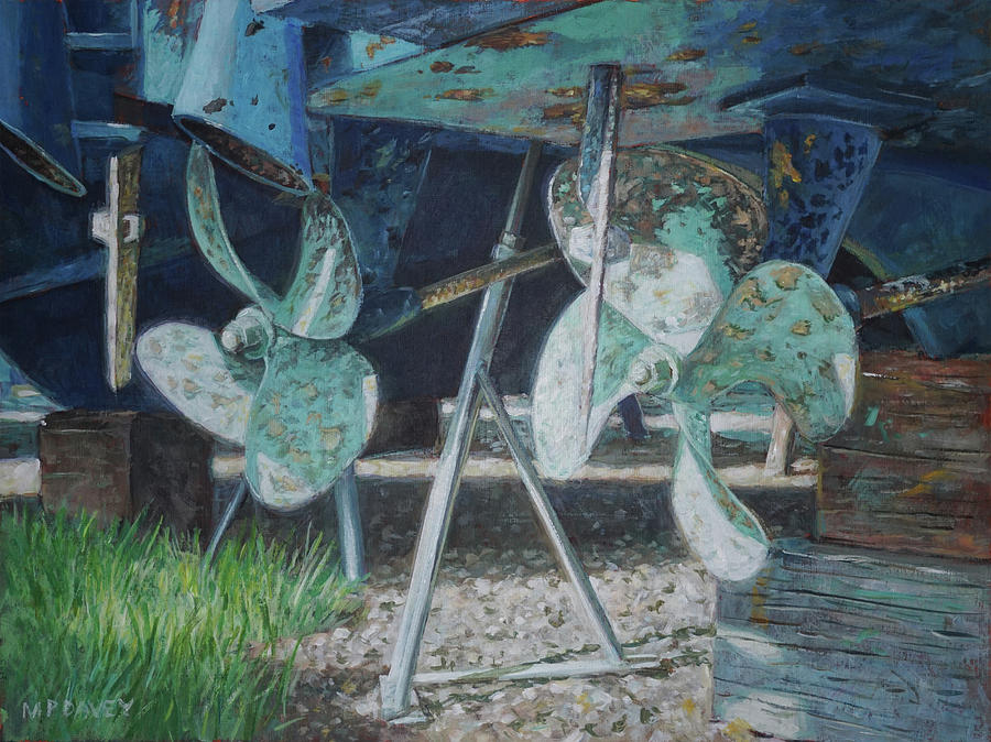 Twin propellers on blue boat by Martin Davey