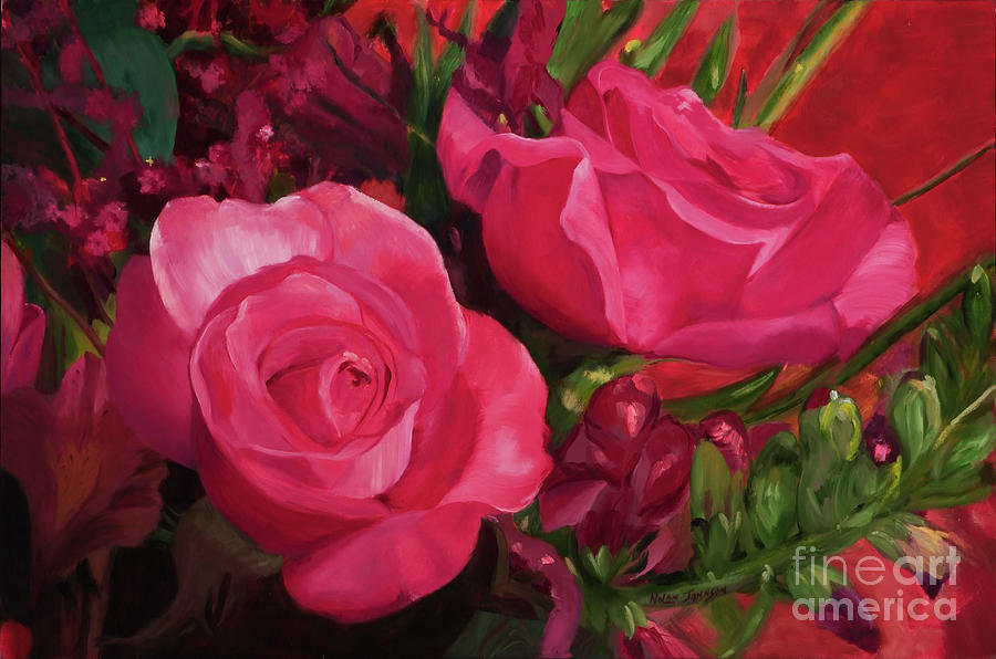 Twin Roses by Marilyn Nolan-Johnson by Marilyn Nolan-Johnson
