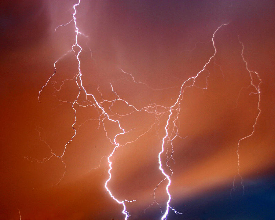 Lightning Photograph - Twin Strike by Anthony Jones