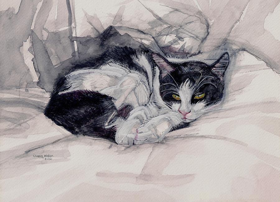 Cat Painting - Twinkle The Cat by Chana Helen Rosenberg