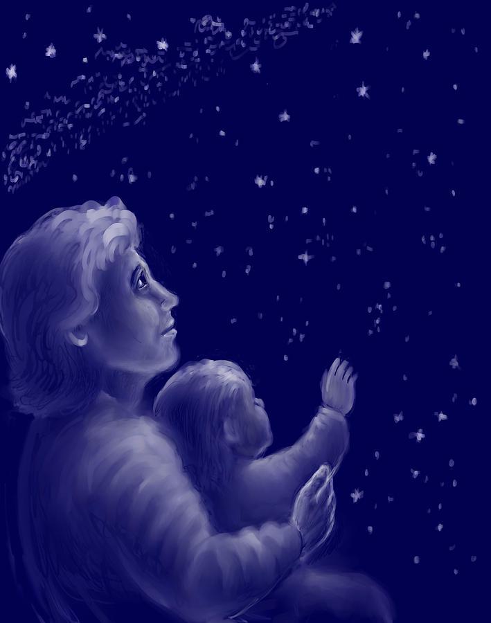 Sisters Drawing - Twinkle Twinkle Little Star by Dawn Senior-Trask