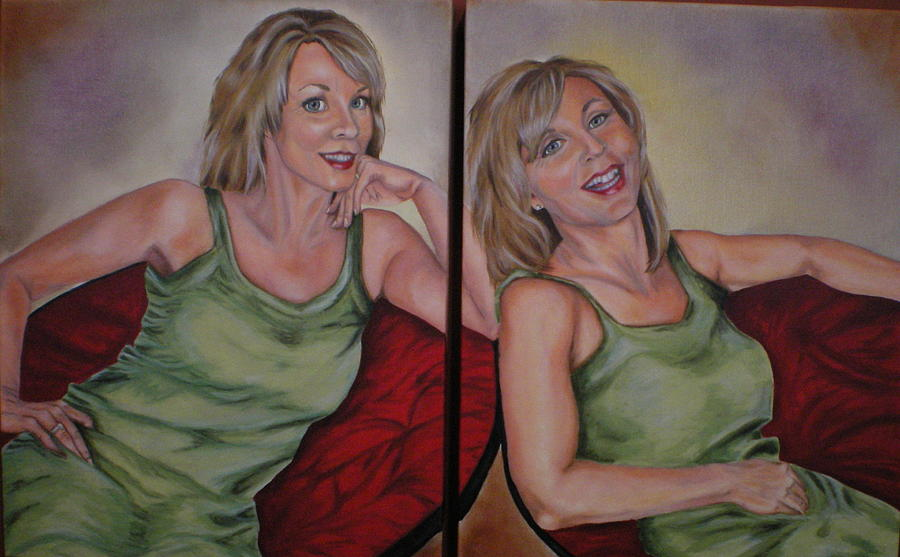 Twins Painting - Twins - Self Portrait by Annette Broy