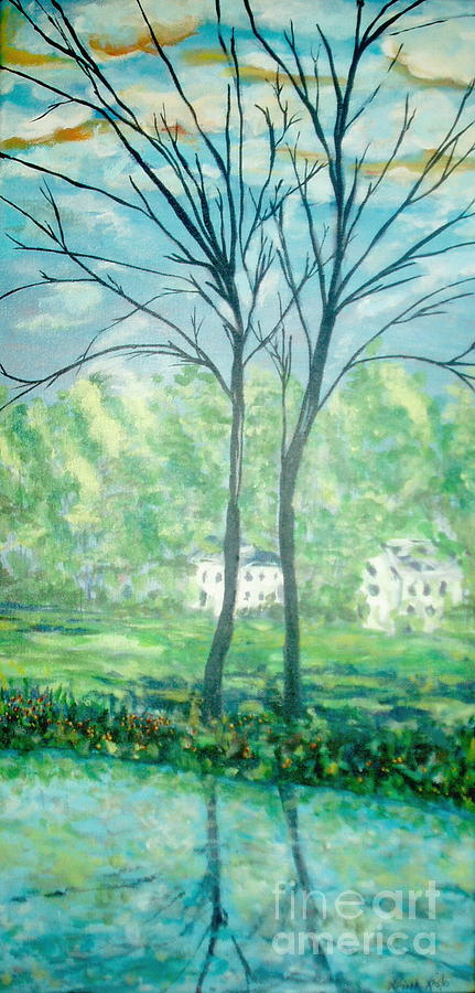 Landscape Painting - Twins By The Lake by Reina Resto