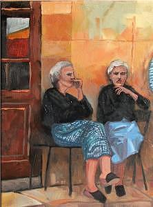 Women Painting - Twins by Don Sibley