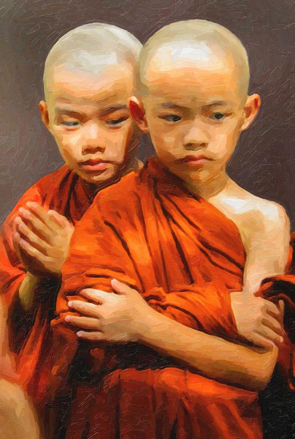 Man Painting - Twins In Orange by Celestial Images