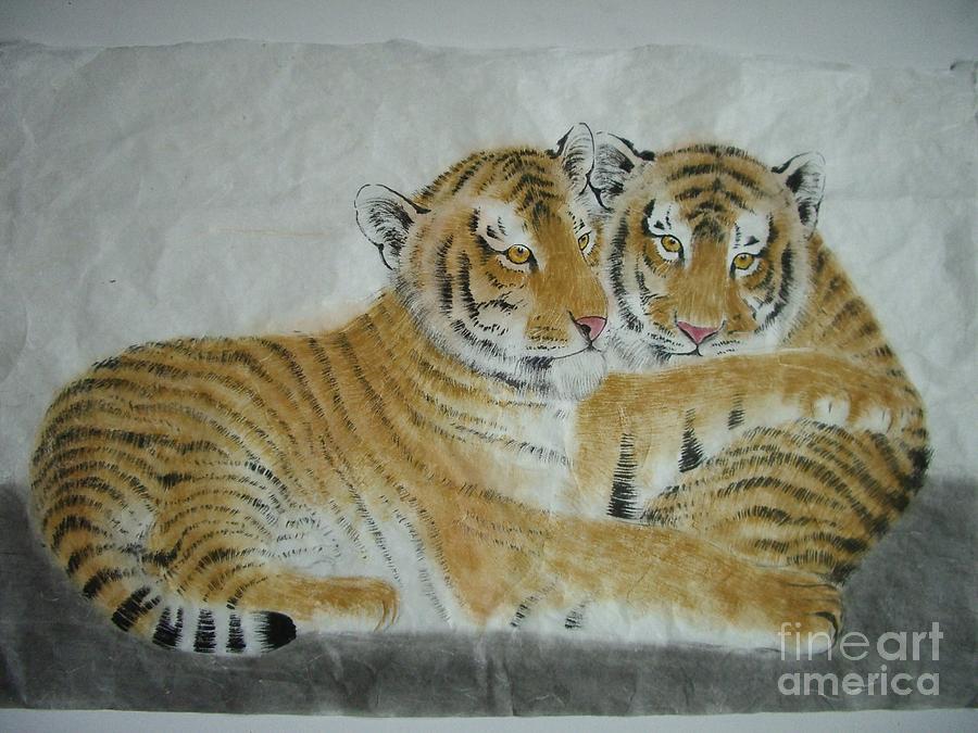 Tiger Painting - Twins by Jian Hua Li