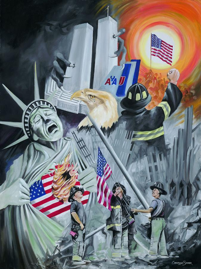 911 Memorabilia Painting - Twintowers by Christiaan Bekker