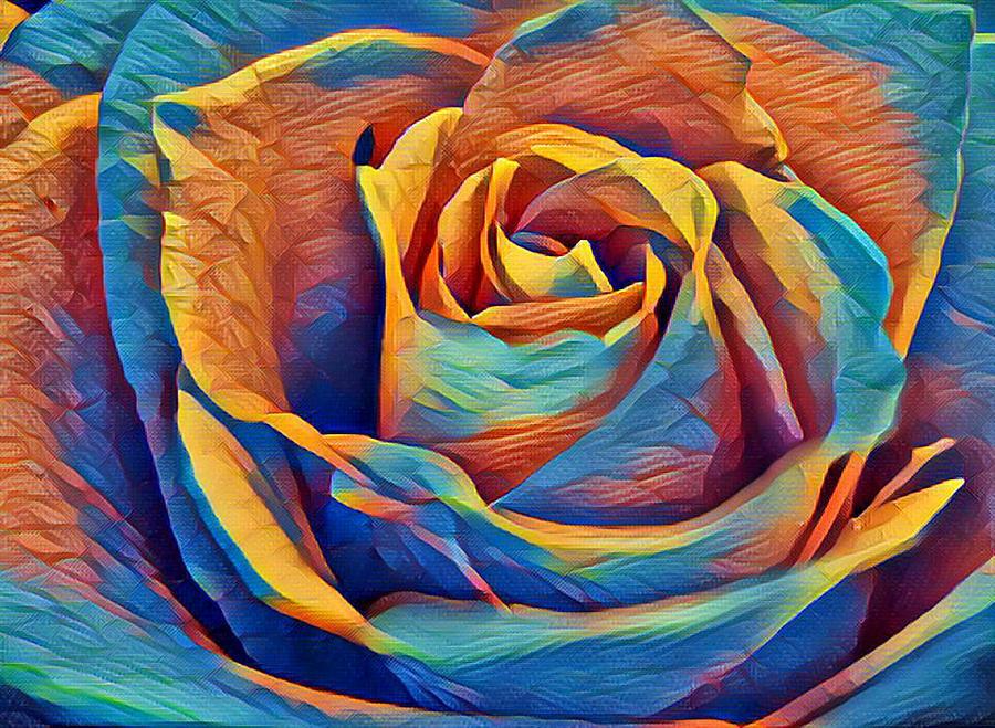 Rose Digital Art - Twist On A Masterpiece 1 by Rhonda Barrett