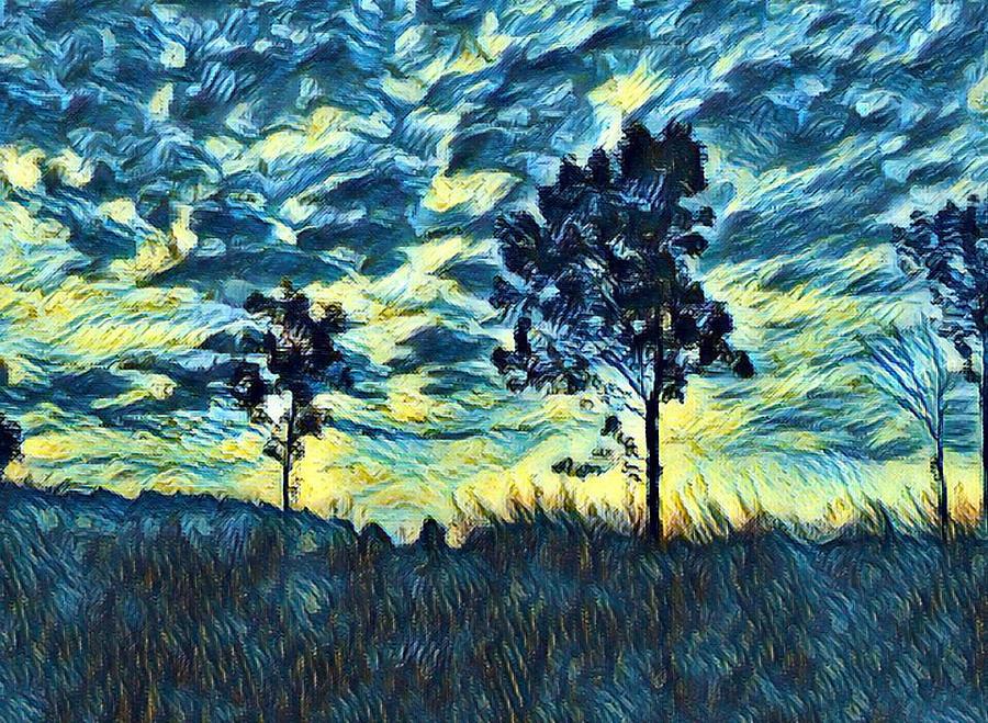 Landscape Digital Art - Twist On A Masterpiece 3 by Rhonda Barrett