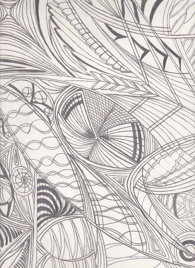 Abstract Sketch Drawing - Twisted Dimensions by Laurie Gibson