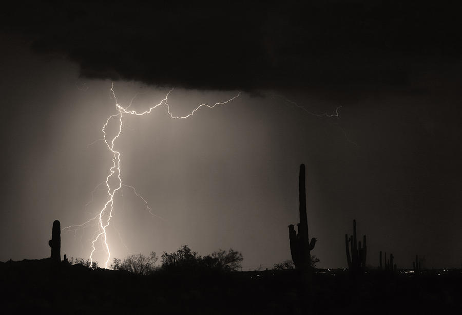 Lightening Photograph - Twisted Storm - Sepia Print by James BO  Insogna
