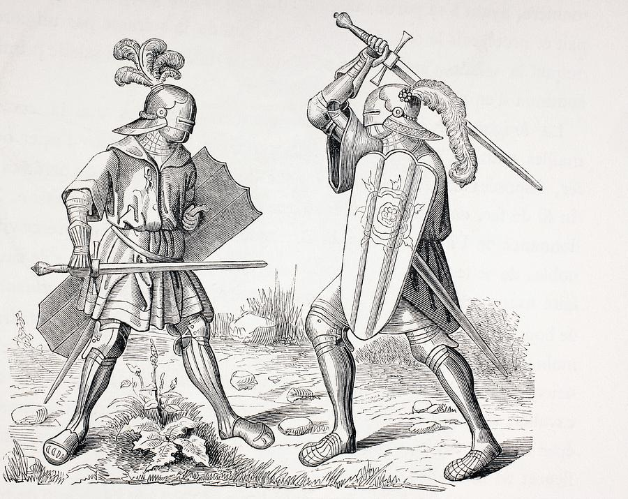 two 15th century fully armoured knights drawing by vintage design pics